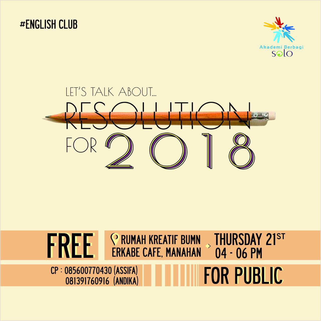 Solo: #EnglishClub – Let's Talk About Resolution For 2018